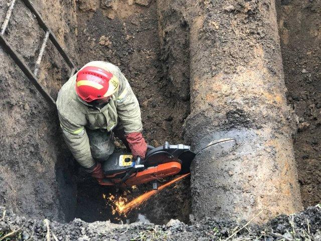 Ремонтные работы на водоводе Белокузьминовской насосной станции